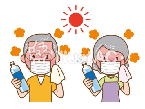 太陽の下で湯気を出しながらペットボトルを持って汗を拭く、マスクをつけた高齢の男性女性が並んで立っている人物イラスト