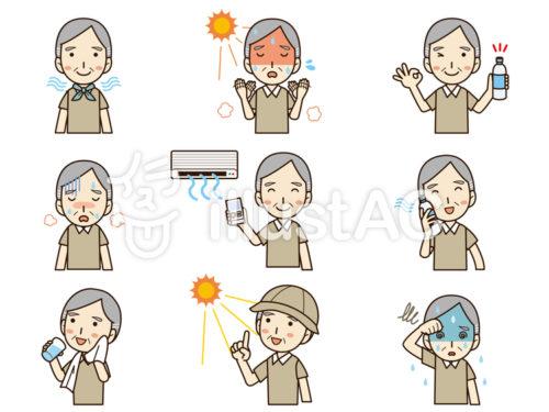 暑がる高齢男性、体温が上昇している男性、汗を拭く男性、エアコンで涼む男性