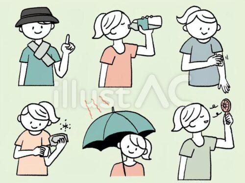 熱中症対策のいろんなポーズ。ネッククーラーを巻いた人、水分補給する人物、日傘をさした人物、汗ふきシートで腕を拭く女性