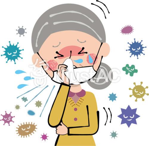 あごにマスクをずらして咳き込むおばあさんのイラスト