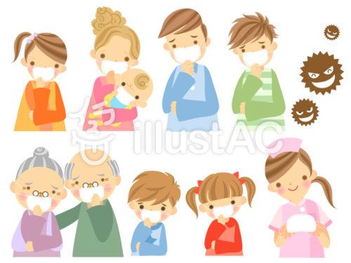 家族みんなでマスクしているイラスト
