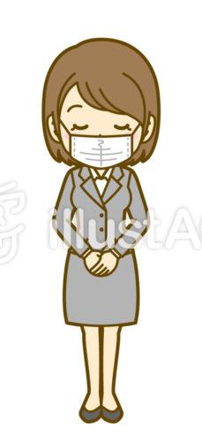 マスクを着けてスーツの女性がお辞儀をしている無料素材