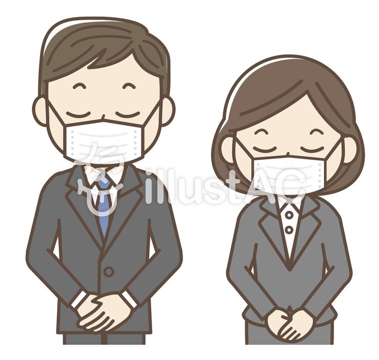 スーツ姿でマスク着用をお願いする人物イラスト