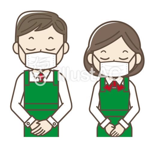 マスクをしてお辞儀をするスーパーの店員