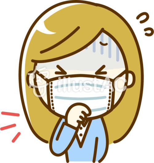 咳をするマスクの女性