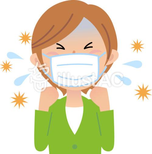 マスクをして咳き込む女性のイラスト