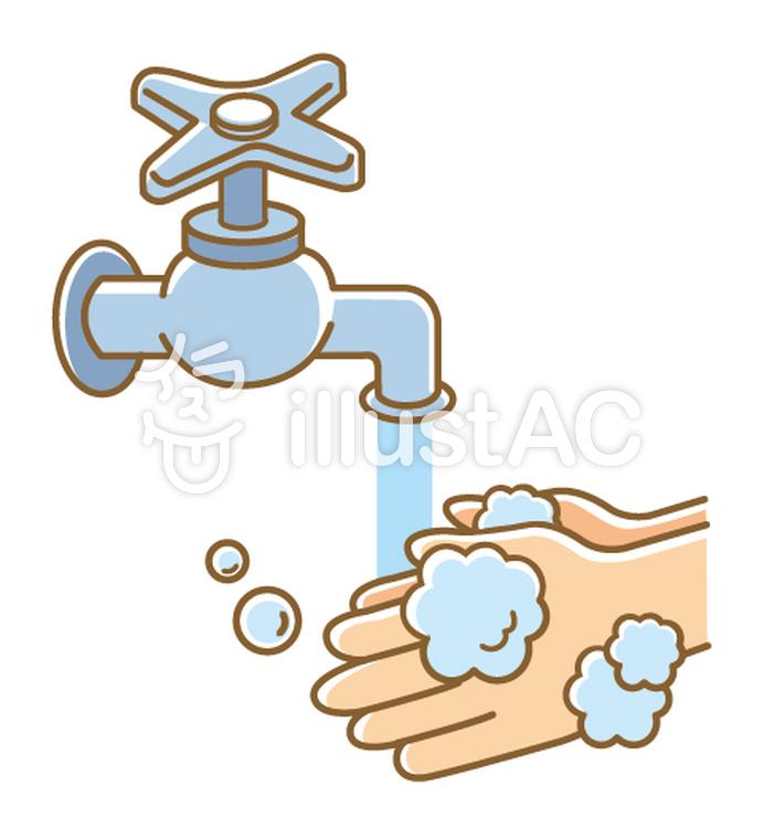 蛇口からでる水で手を洗うイラスト