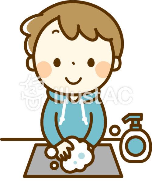 ハンドソープで手洗いする男の子
