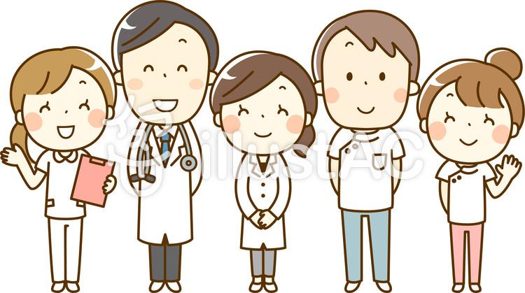 医療従事者5人が並んでいる人物イラスト
