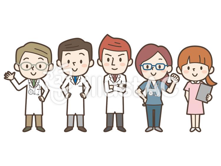 医療チーム5人男女混合フリー素材