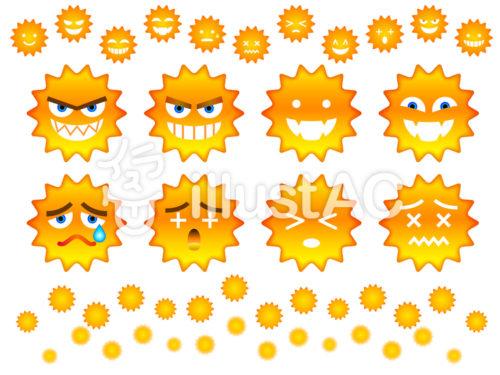 いろいろな表情をしているウイルス・バイ菌のイラスト(オレンジ色)