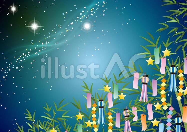 天の川と笹飾りのフリー素材