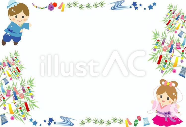 七夕の笹飾りと彦星と織姫でフレーム状にレイアウトされたフリーイラスト