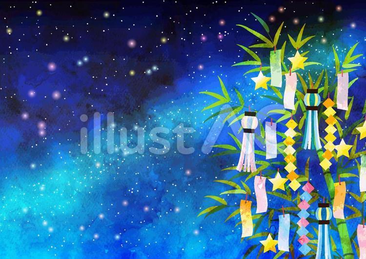 夏の夜空をバックにした七夕の笹飾り