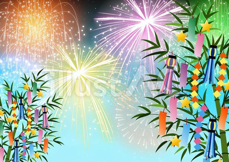 花火と笹飾り