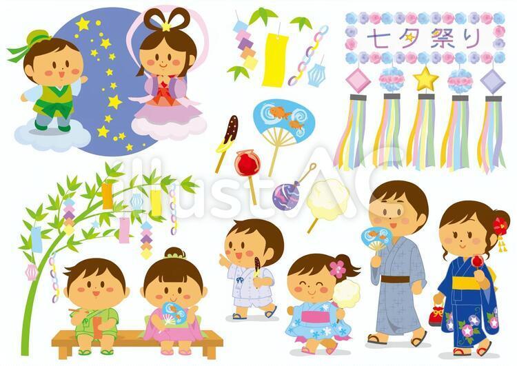 彦星と織姫と男女の子供とパパママと七夕飾りの無料素材