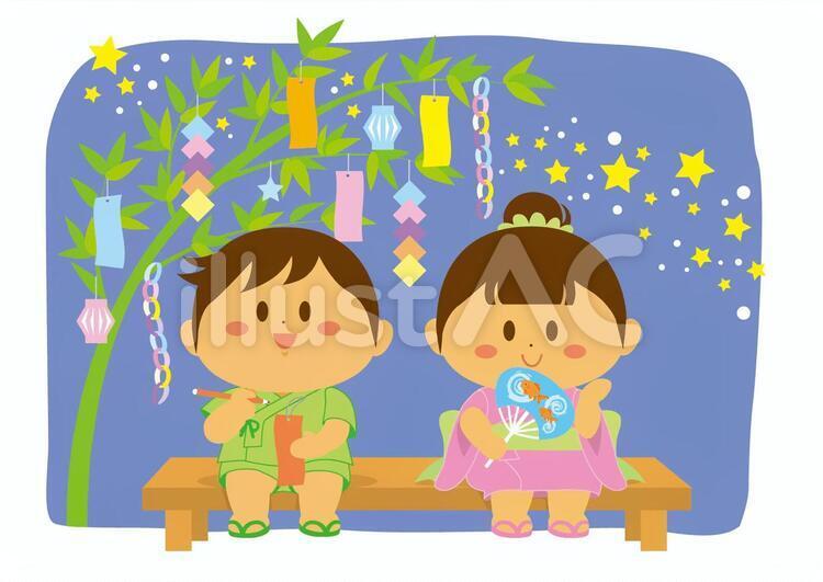 男の子と女の子が並んで座って夜空を見上げている七夕のイラスト