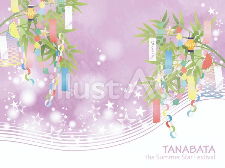 七夕のフレーム。紫色の天の川と笹の葉飾り
