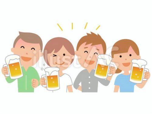 ビールで乾杯している4人の人物イラスト