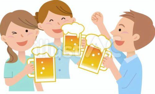 ビールを飲んで歓談している男女のイラスト