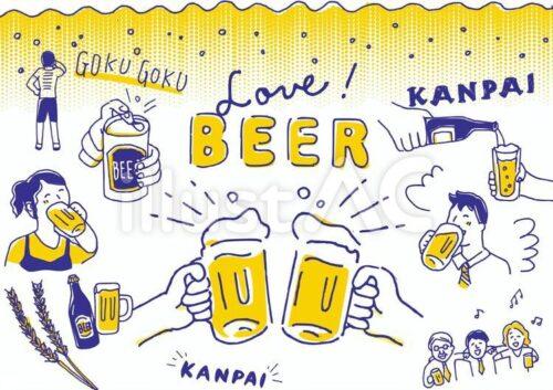 ビアパーティのフリー素材。缶ビール、仁王立ちでごくごく飲むポーズ、お酌、KANPAIのロゴ、泡、おいしそうに飲む女性