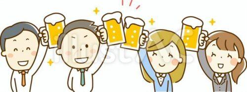 ビールで乾杯している飲み会を楽しむサラリーマン4人のイラスト