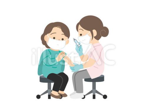 マスクをした女性とマスクをした女性医師がワクチン接種しているイラスト