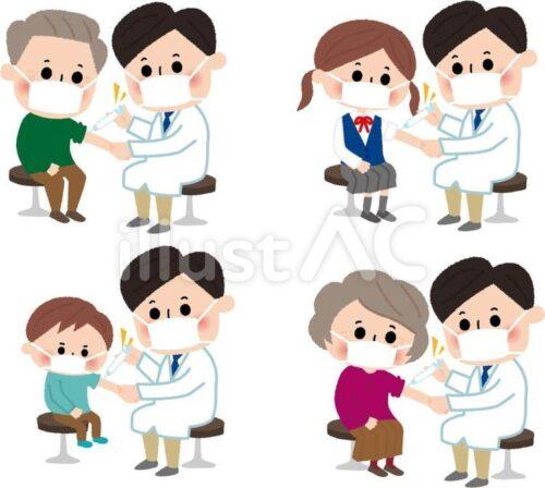 注射を打つ人物。高齢者、若者、幼児