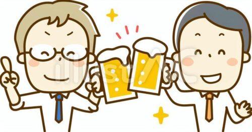 二人組のサラリーマンがビールを飲んでいるイラスト