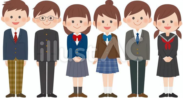 ブレザーや学ラン、セーラー服の制服を着た男女6人の学生