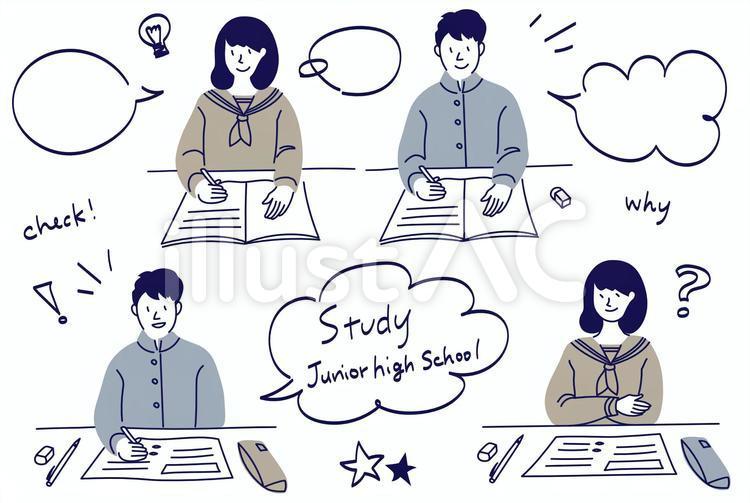 机で教科書やノートを広げて勉強をしている中学生のイラスト