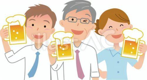 会社員の飲み会の様子。ビール片手に乾杯する上司と若手男性社員、笑顔の女性社員の人物イラスト