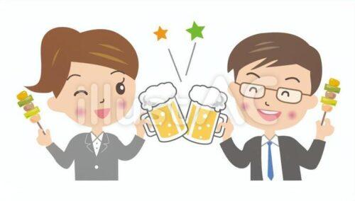 ビールで乾杯している男性と女性のビジネスパーソンのイラスト