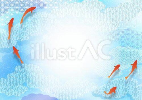 赤い金魚が和柄の水の上を泳いでいるイラスト