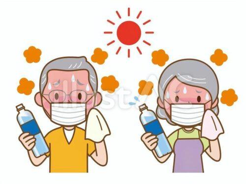 炎天下でマスクをしペットボトルを持ちながら汗を拭く高齢男性と女性のイラスト