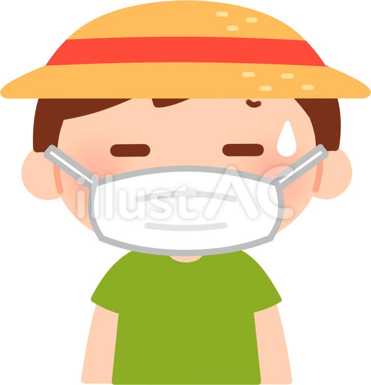 マスクをして麦わら帽子をかぶって暑そうな男の子のイラスト