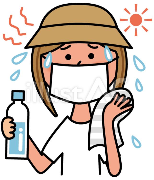 炎天下で汗をかいて水分補給する女性のイラスト