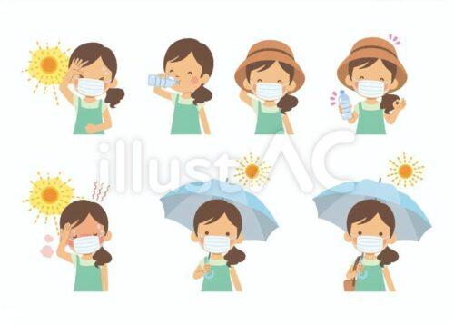 暑がる女性、水分補給する女性、マスクをして日傘をさす女性のイラスト