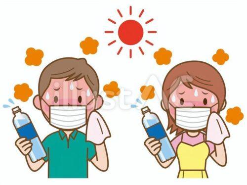 炎天下でマスクをしペットボトルを持ちながら汗を拭く若い男性と女性のイラスト