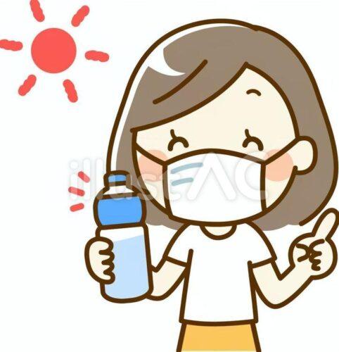 炎天下でマスクしてスポーツドリンクを飲む女性のイラスト