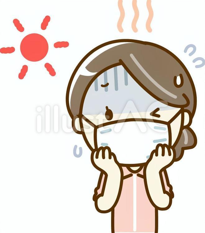 太陽の下でマスクをしてジャージを着た暑そうな女性のイラスト