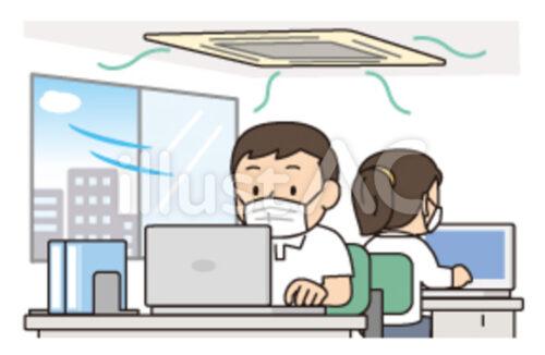 窓をあけて換気しているオフィスでマスクしている従業員二人