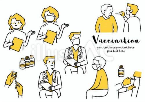 ワクチン接種する医師と高齢者のイラスト