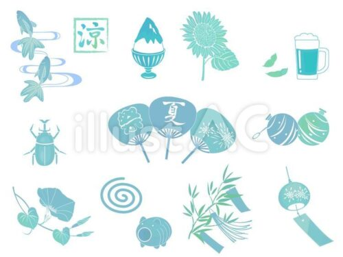 日本らしい夏の風物詩・グッズ。金魚、かき氷、ひまわり、ビール、かぶとむし、うちわ、ヨーヨー、あさがお、かとりせんこう、笹の葉、風鈴のイラスト
