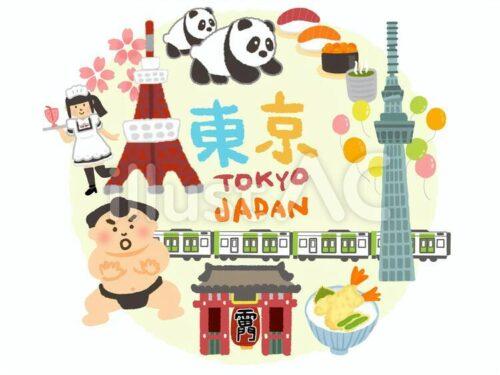 東京タワー、上野動物園のパンダ、寿司、スカイツリー、メイド喫茶、お相撲さん、山手線の電車、浅草寺雷門、天丼のイラスト