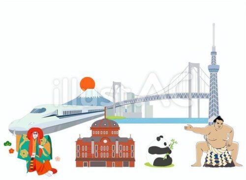 新幹線、富士山と日の出、レインボーブリッジ、スカイツリー、歌舞伎、東京駅、パンダ、相撲取りのイラスト