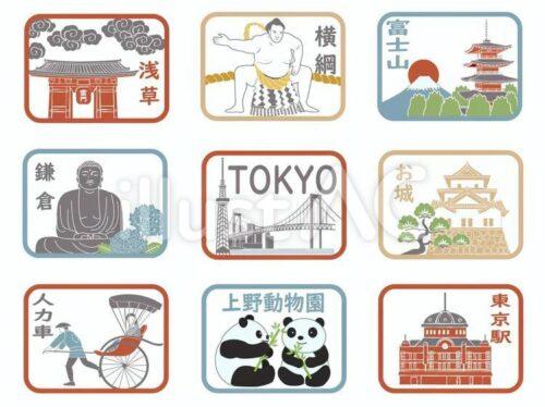 浅草寺、相撲、富士山、鎌倉の大仏、スカイツリー、レインボーブリッジ、城、人力車、上野動物園、東京駅のイラスト