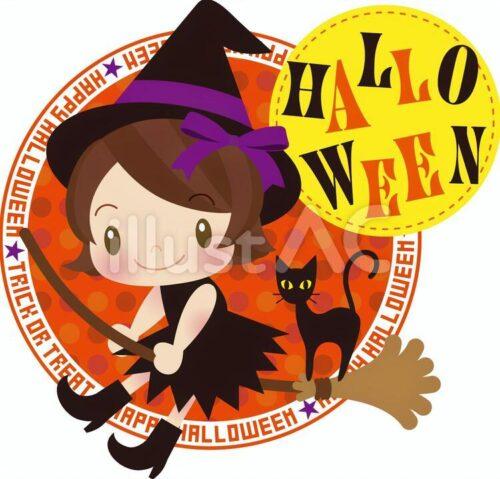 魔法使いの女の子と黒猫のイラスト