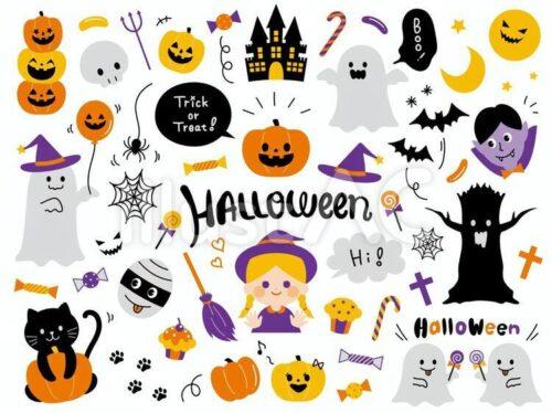 ゴースト、魔法使いの女の子、バンパイヤ、ジャックオーランタン、ミイラ男、黒猫、かぼちゃの風船、ジェリービーンズ、キャンディーのイラスト