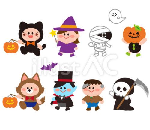 黒猫に仮装した子供、魔法使いの格好した女の子、ミイラ男、カボチャをかぶった子供、死神、顔が青いバンパイヤのイラスト